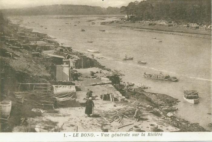 Chantiers ostréicoles le long de la rivière avant 1920