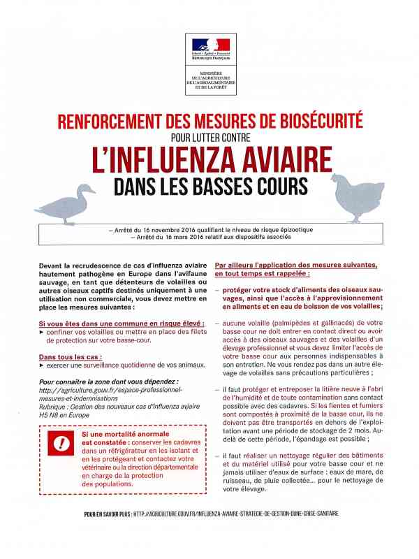 Prévention et lutte contre l'influenza aviaire