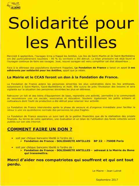 Solidarité pour les Antilles – Appel au don