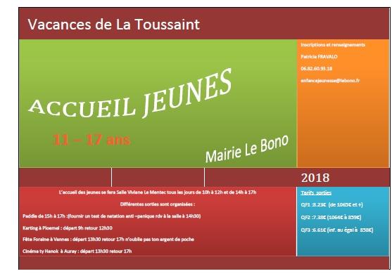 Accueil jeunes – programme des vacances de la Toussaint