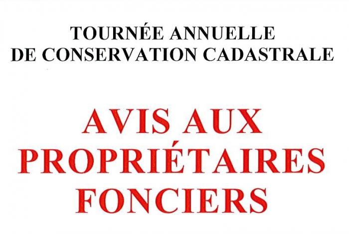 Tournée annuelle de conservation cadastrale
