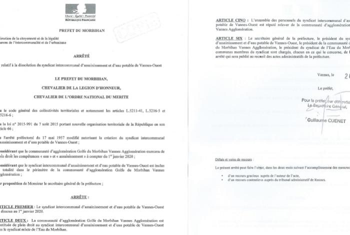 Dissolution du SIAEP au 1er janvier 2020