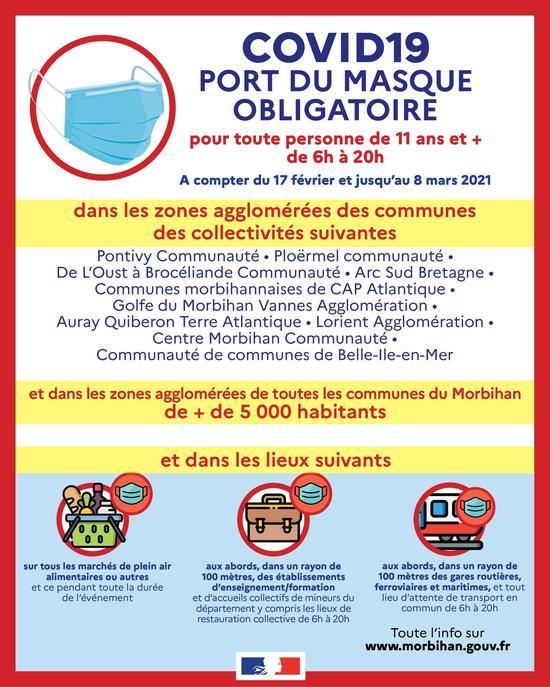 Port du masque OBLIGATOIRE sur tout le territoire de la commune